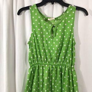Tommy Girl Green & White Polka Dot High Low Dress